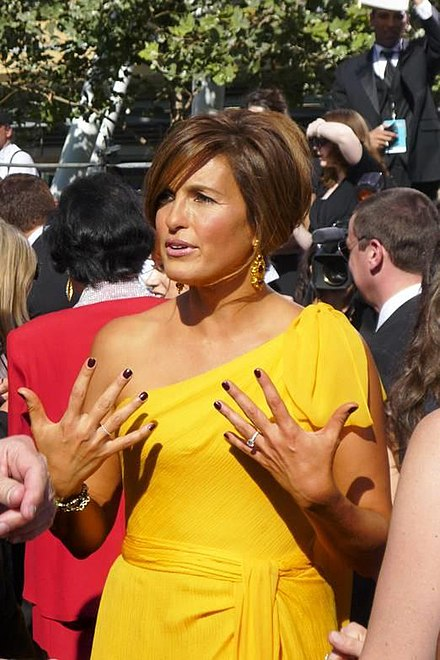Hargitay attending the 60th Primetime Emmy Awards on September 21, 2008. She received eight consecutive Primetime Emmy Award nominations from 2004 to 2011, winning once in 2006. Mariska Hargitay at 2008 Emmy Awards.jpg