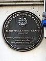 Mary Wollstonecraft plaque - 373-375, Mare Street Hackney London E8 1HY.jpg