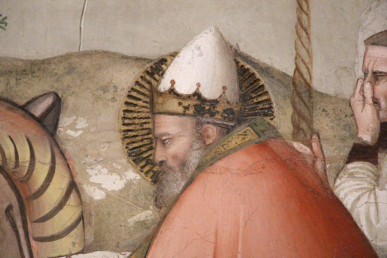 Maso di Banco, Storie di san Silvestro, Miracolo del drago (dettaglio San Silvestro chiude la fauci al drago), Cappella Bardi di Vernio, Santa Croce, Firenze