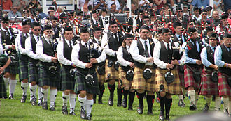 North Glengarry, Ontario - Massed bands at the Glengarry Highland Games