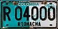 Matrícula automovilística Colombia 2008 Riohacha R O4000.jpg