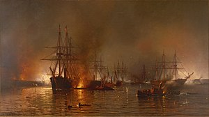 Turning point of the American Civil War - Farragut's fleet forces its way past the downstream forts prior to the capture of New Orleans