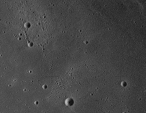 Mons La Hire - Charles (upper left corner), Mavis (below Charles), and Annegrit (lower right corner), north of Mons La Hire. The largest crater at bottom center is unnamed.