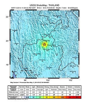 2014 Mae Lao earthquake - USGS ShakeMap for the event