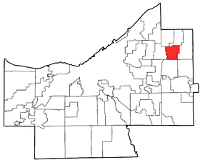 Location of Mayfield Heights in Cuyahoga County