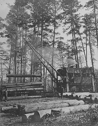 Trinity County, Texas - Southern Pine Lumber Company steam log loader, Trinity County around 1907. Crew is loading logs into a railcar.