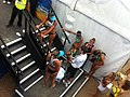 Medallists await the ceremony at the Beach Volleyball.jpg
