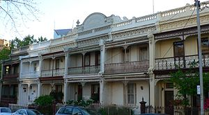 Carlton, Victoria - Double storey terraces on Drummond street, typical of much of Carlton's residential districts