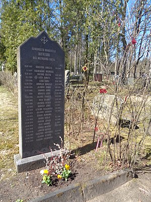 Dievturība - Memorial stone at the Forest Cemetery (Meža kapi) of Riga to those Latvian pagans killed by the Soviets 1942-1952.