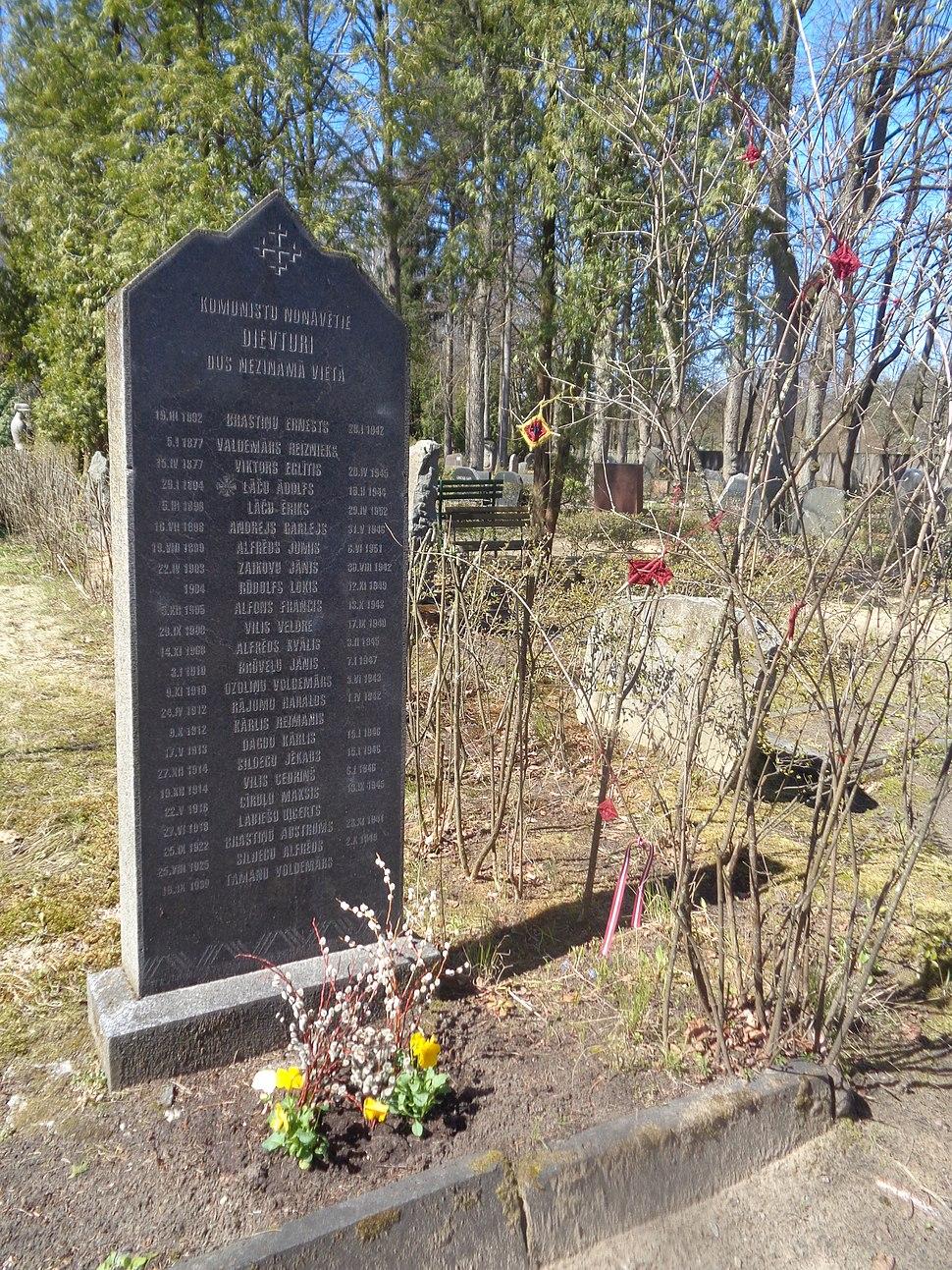 Memorial for Dievturi (Latvian pagan) victims of Soviet rule 1942-1952, Forest Cemetery, Riga, Latvia