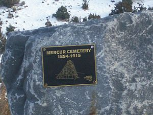 Mercur, Utah - Plaque in front of the Mercur cemetery