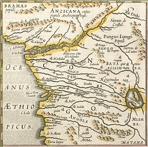 Kongo people - A 1595 map of Congo, printed in 1630. The map emphasizes the rivers and Portuguese churches. It marks the capital of Kongo people as Citta de São Salvador.