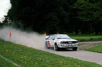 British Rally Championship - Michèle Mouton drives an Audi Quattro A2 at the 1985 Welsh Rally.