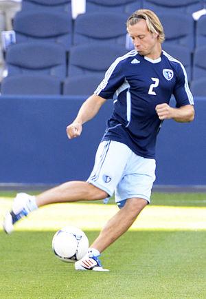 Michael Harrington (soccer) - Harrington warming up at Livestrong Sporting Park
