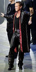 Photograph of Michael Flatley performing an Irish dance