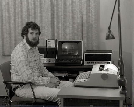 Home computer hobbyist with a Hazeltine 1500 (1978)