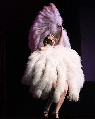 Fan dance - Michelle L'amour at the Miss Exotic World Pageant, 2007. Photo Michael Albov