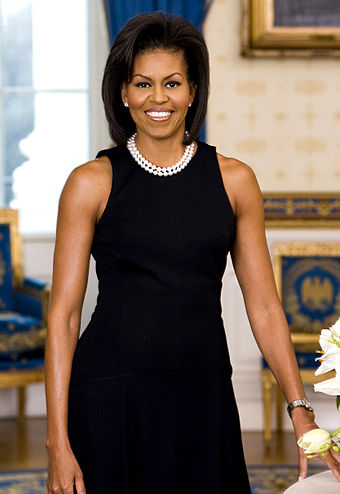 Michelle Obama was the First Lady of the United States; she and her husband, President Barack Obama, are the first African Americans to hold these positions. Michelle Obama official portrait crop.jpg