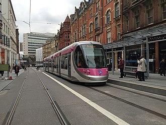 Corporation Street, Birmingham - View of Corportaion Street looking southward following Midland Metro tram extension.