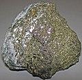 Millerite-chalcopyrite-calcite (Sudbury Impact-related mineralization, late Paleoproterozoic, 1.85 Ga; McCreedy West Mine, Sudbury Mining District, Ontario, Canada) 1 (15753817870).jpg