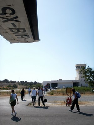 Milos Island National Airport - Passengers walk the short distance to the terminal.
