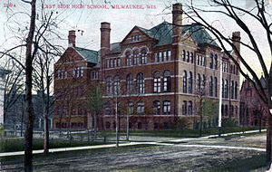 Riverside University High School - East Side High School, 1908 German postcard