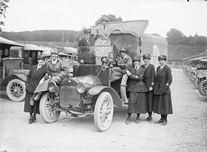 Women in the military - A group of female motor ambulance drivers from the British Voluntary Aid Detachment in France during 1917