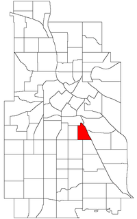 Location of East Phillips within the U.S. city of Minneapolis
