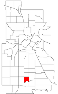 Location of Field within the U.S. city of Minneapolis