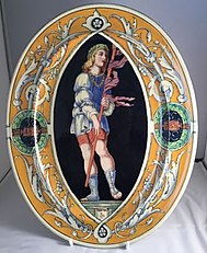 Minton tin-glaze Majolica oval plate decorated by Thomas Kirkby in Renaissance style after Mantegna original