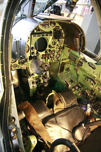 Centre stick - Central forward area of the Mirage III cockpit, showing a centre stick.