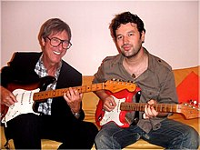 Miss Daisy with Hank Marvin and owner Jean-Pierre Danel.jpg