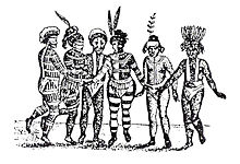 A sketch of the native Ohlone people performing a dance.