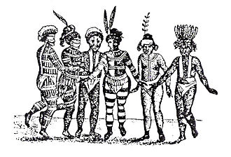 "California mission clash of cultures - Georg von Langsdorff, early visitor to California, sketched a group of Ohlone-Costeño dancers at Mission San José in 1806. ""The hair of these people is very coarse, thick, and stands erect; in some it is powdered with down feathers,"" Langsdorff noted. ""Their bodies are fantastically painted with charcoal dust, red clay, and chalk. The foremost dancer is ornamented all over with down feathers, which gives him a monkey-like appearance; the hindermost has had the whimsical idea of painting his body to imitate the uniform of a Spanish soldier, with his boots, stockings, breeches, and upper garments."""