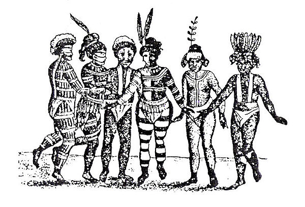 An early visitor to California sketched a group of Costeno dancers at Mission San Jose with their bodies painted to resemble the patterns in Spanish military uniforms. Mission San Jose natives.jpg