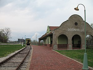 Katy Trail State Park - Former MKT depot in Boonville, with the MKT Bridge in the distance
