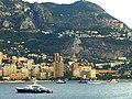 Monaco – Blick über Monte Carlo zur Panoramastraße Grande Corniche und Mont Gros in Frankreich - Monte Carlo overlooking the panoramic road Grande Corniche and Mont Gros in France - panoramio.jpg