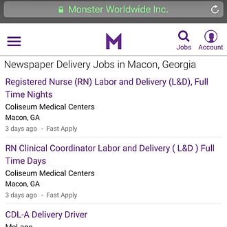Monster.com - Relevance of monster.com results from iPhone 5s.