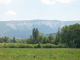 The Montagne de Chabre, seen from the RN75 road, in the area of Montrond