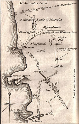 Murder of Alexander Montgomerie - A map of the lands of Montfode and Ardrossan in 1769 showing the details of the incident.