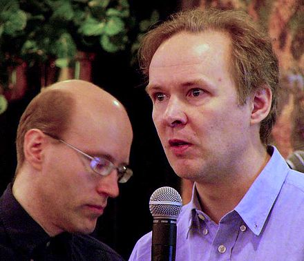 "David Axmark (left) and Michael ""Monty"" Widenius, founders of MySQL AB, in 2003 Monty-Widenius-David-Axmark-MySQL-2003-05-09.jpg"