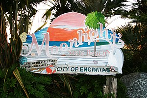 Moonlight Beach - Signboard at entrance to beach, 2010