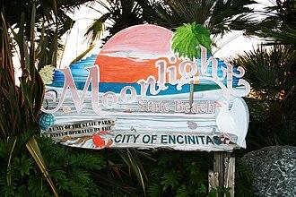 Moonlight Beach - Signboard at entrance to beach, 2010