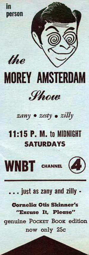 Morey Amsterdam - Bookmark promotion for Amsterdam's late night NBC show.