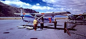 Mount Cook Airline - Cessna 185 ski-plane at Mount Cook Aerodrome awaiting a Tasman Glacier scenic flight in January 1977