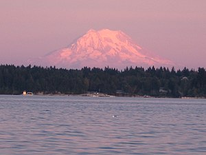 Mason County, Washington - Mount Rainier over the Totten Inlet. Mason County, Washington.