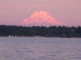 Mason County, Washington - Mount Rainier over the Totten Inlet. Mason County, Washington.