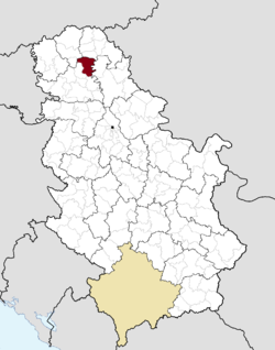 Location of the municipality of Bečej within Serbia