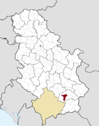 Location of the municipality of Lebane within Serbia