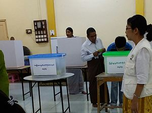 Myanmar general election, 2015 - A polling station used for elections. The ballot boxes are at the front, while the voting booths are at the rear.